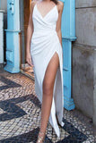 Sexy Simple Ruffled White Spaghetti Straps Slit V-neck Prom Dress