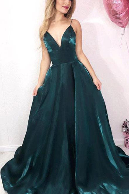 Simple Chic Spaghetti Straps V-neck Long Evening Gown Prom Dress