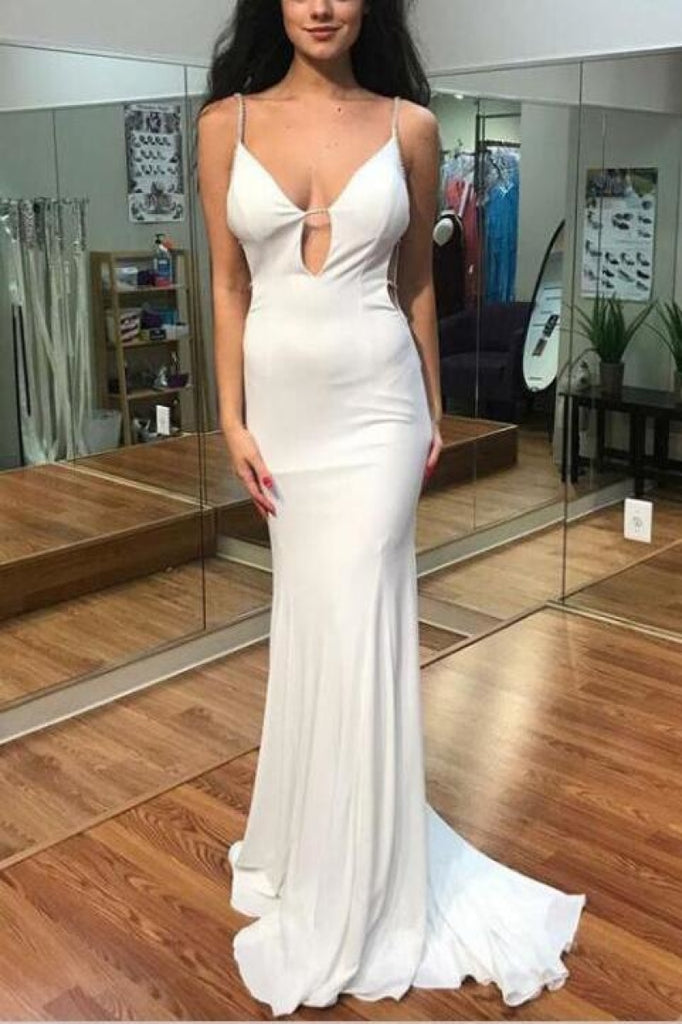 Simple White Cut Out Spaghetti Straps Mermaid Long Prom Dresses
