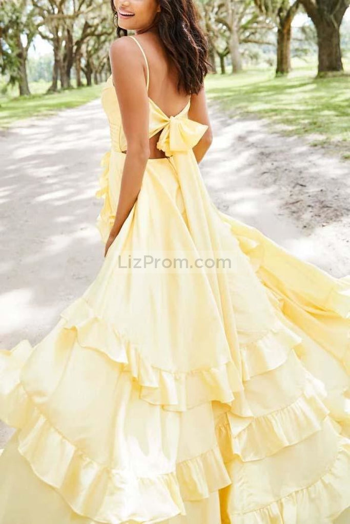 Chic Daffodil Spaghetti Straps Lace Up Ruffled Long Prom Dress Dresses