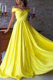 Chic Simple Yellow Open Back Off Shoulder Long Prom Gown