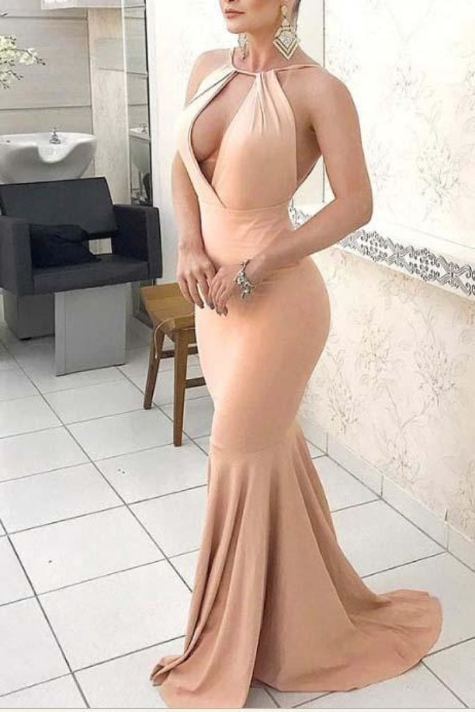 Glamorous Halter Backless Cut Out Mermaid Evening Prom Dress Dresses