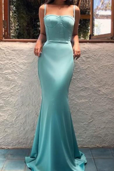 Simple Spaghetti Straps Mermaid Evening Gown Prom Dress