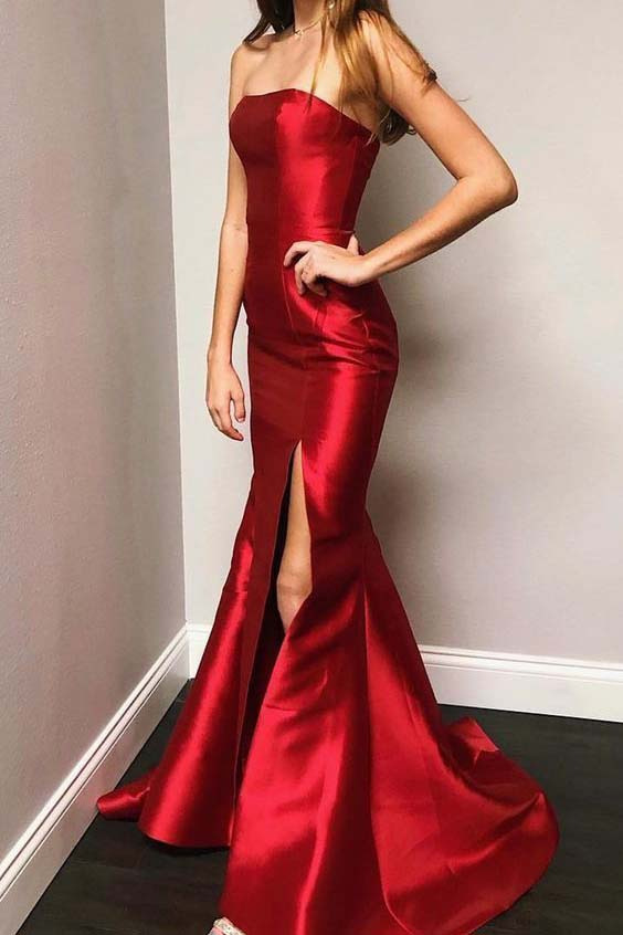Sexy Red Mermaid Strapless Long Evening Prom Dress with Slit