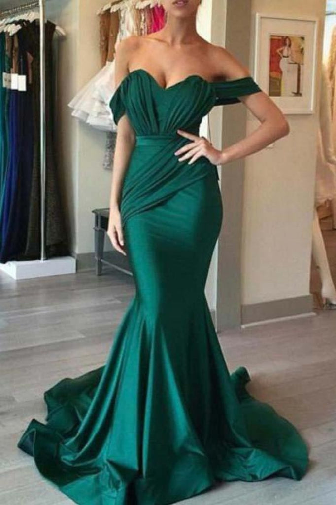 Hunter Off Shoulder Ruffled Mermaid Long Evening Prom Dress Dresses