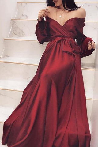 Chic Burgundy Off Shoulder Long Sleeve A-Line Prom Dress