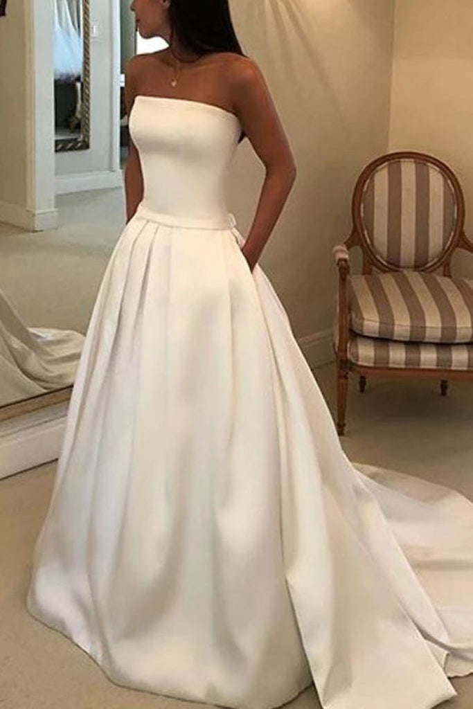 Elegant White Strapless Bowknot Ball Gown Wedding Dress Dresses
