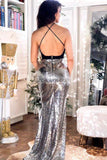 Sparkly Sequined Halter Mermaid Backless Deep V-Neck Prom Dress Dresses