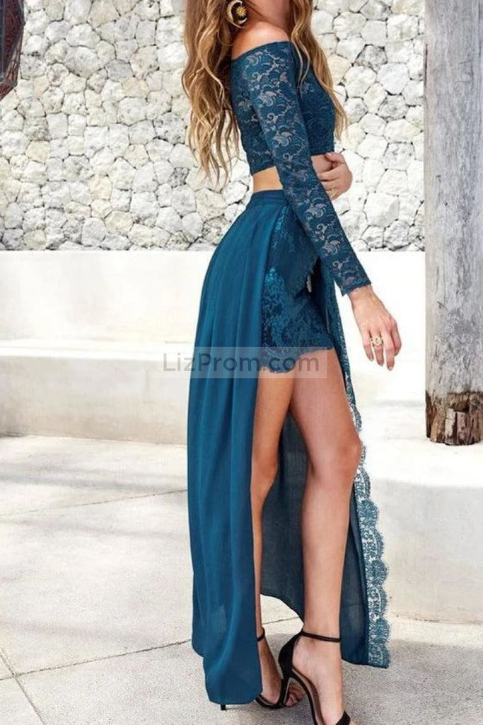 Sexy Ink Blue Two Pieces Lace Long Sleeves Slit Evening Dress Dresses