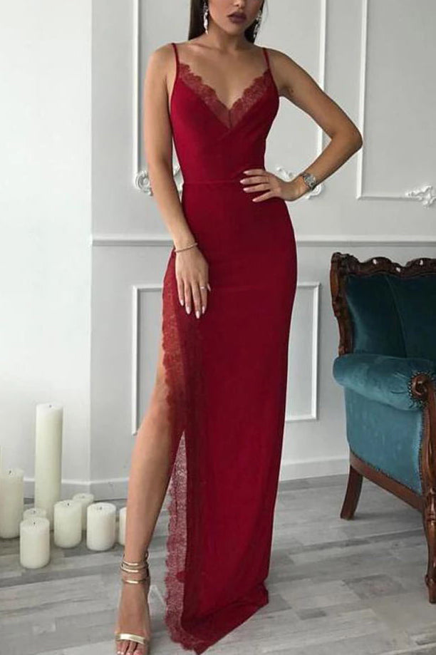 Red Lace Spaghetti Straps V-neck Slit Prom Dress
