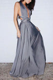 Sexy Gray Plunging Neck Halter A-line Evening Prom Dress