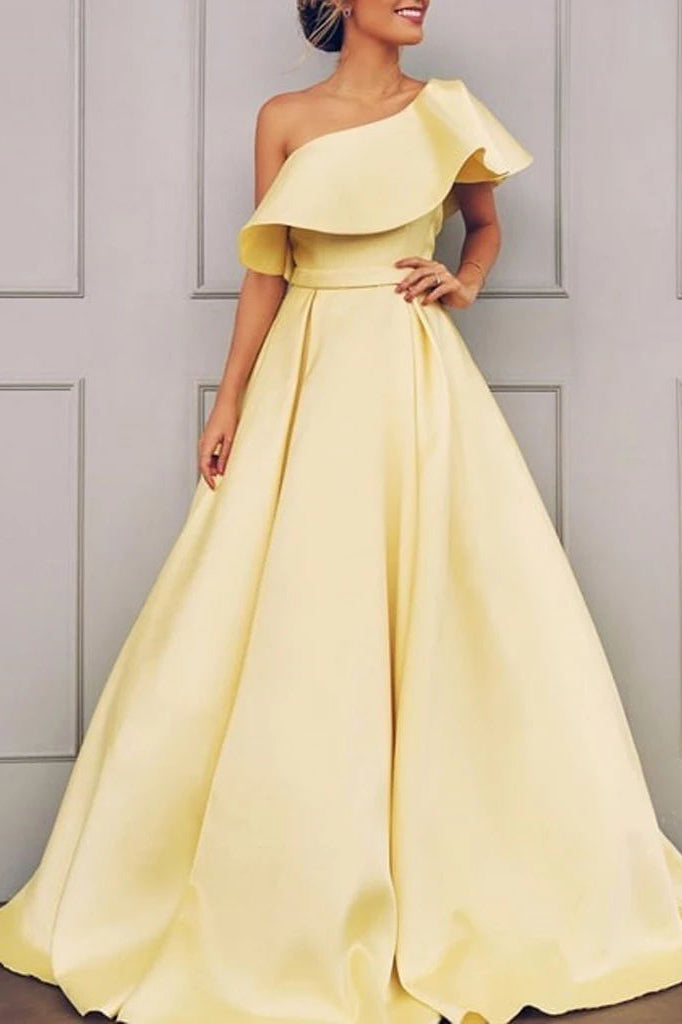 Charming Daffodil One Shoulder Open Back Evening Ball Gown