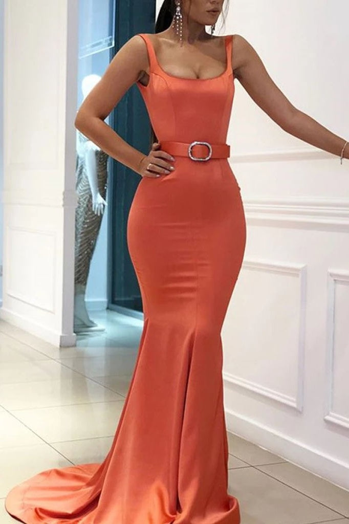 Orange Mermaid Open Back Square Neck Belt Long Prom Dress Dresses