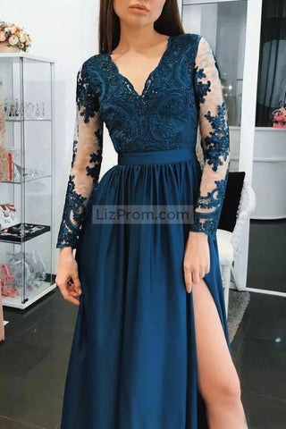 products/2232_Dark_Navy_V-neck_Long_Sleeves_Lace_A-Line_Slit_Prom_Dress_2_598.jpg