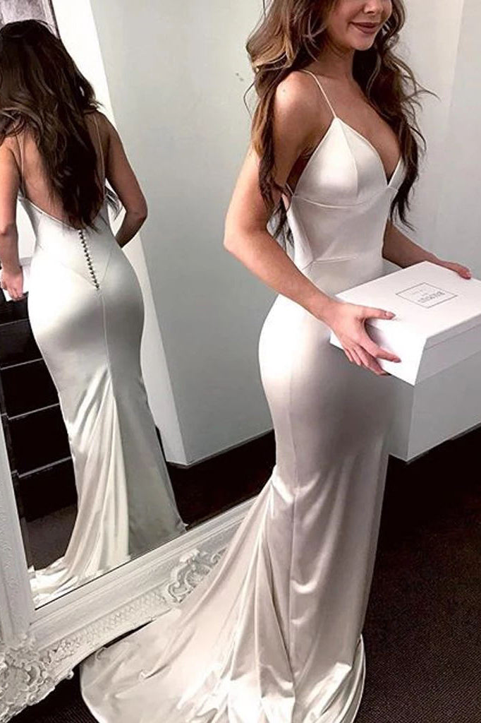 Simple White Mermaid Spaghetti Straps Covered Button Prom Dress