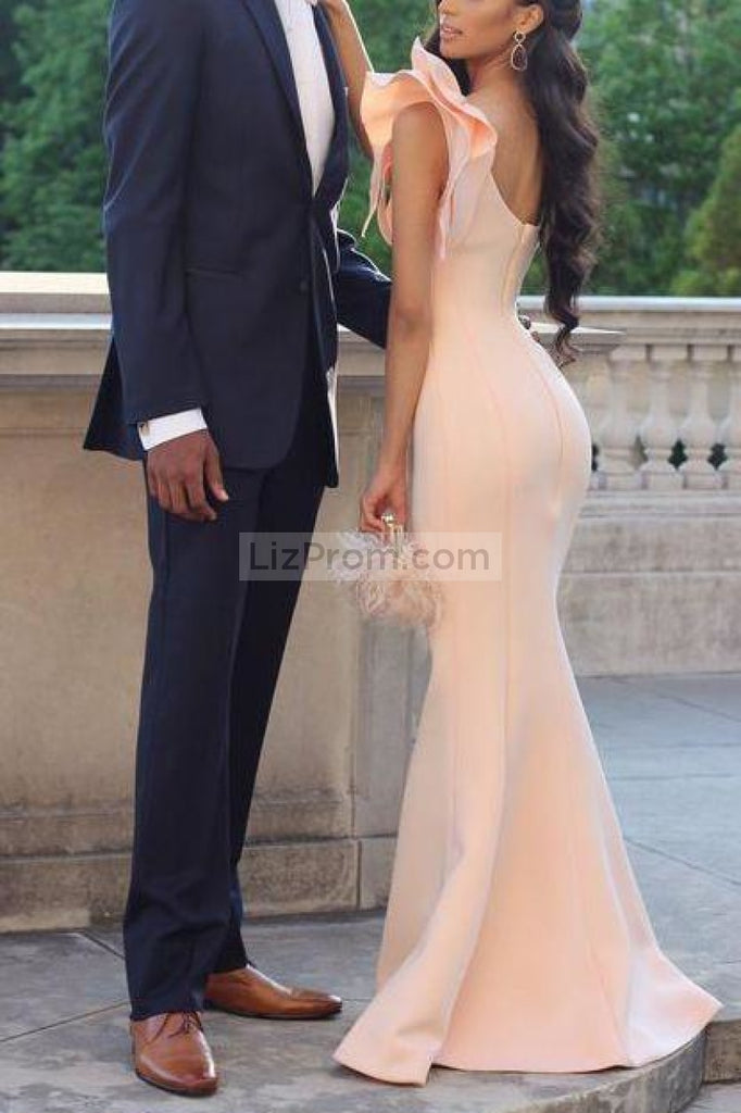 Chic One Shoulder Mermaid Sleeveless Long Evening Prom Dress Dresses