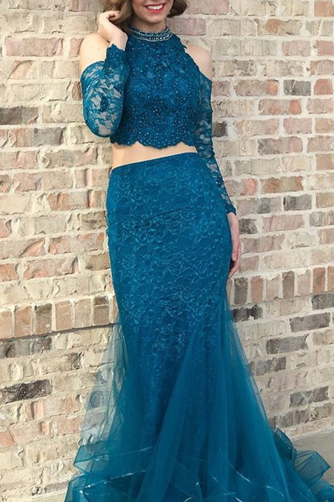 Ink Blue Two Pieces Beaded Long Sleeves Lace Mermaid Prom Dress Dresses