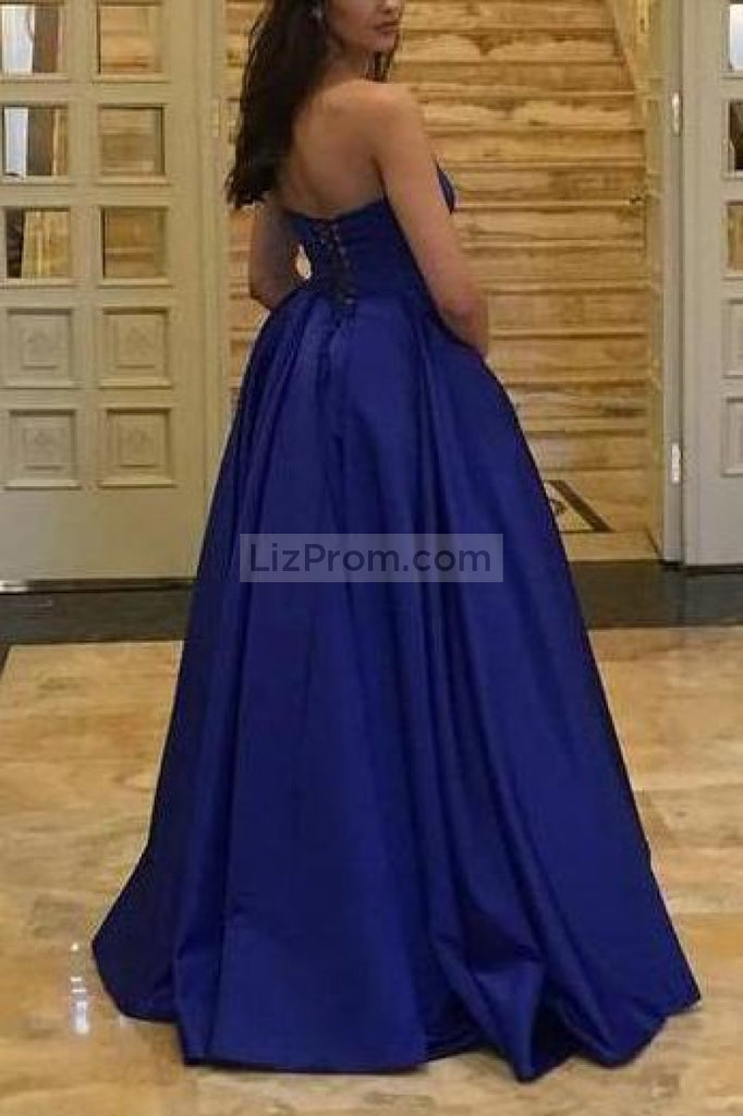 Gorgeous Royal Blue Simple Backless Covered Button Ball Gown Dresses