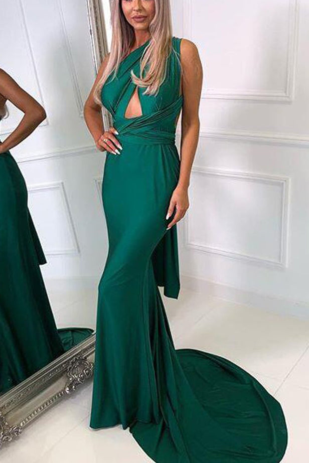 Dark Green Convertible Mermaid Cut Out Evening Long Prom Dress