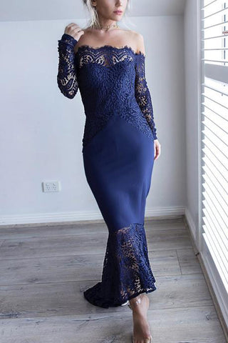 Dark Navy Off Shoulder Mermaid Long Sleeves Lace Party Prom Dress