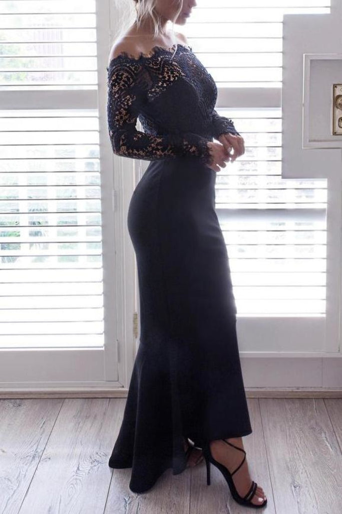 Black Off Shoulder Lace Mermaid Long Sleeves Prom Gown Dresses