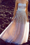 Chic Sparkly Strapless Sequined A-line Princess Long Dress