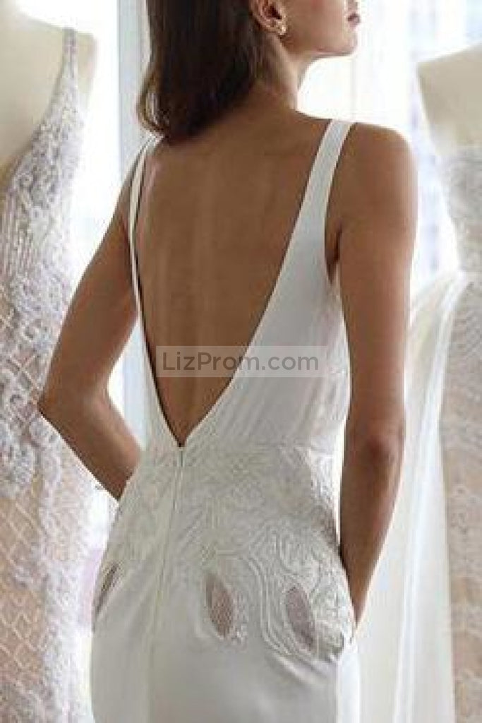 Sexy White Deep V-Neck Open Back Applique Slit Wedding Dress Dresses