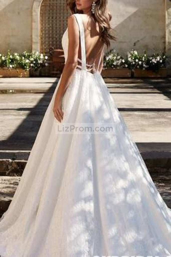 Elegant White Lace A-Line Sleeveless Cut Out Wedding Dress Dresses