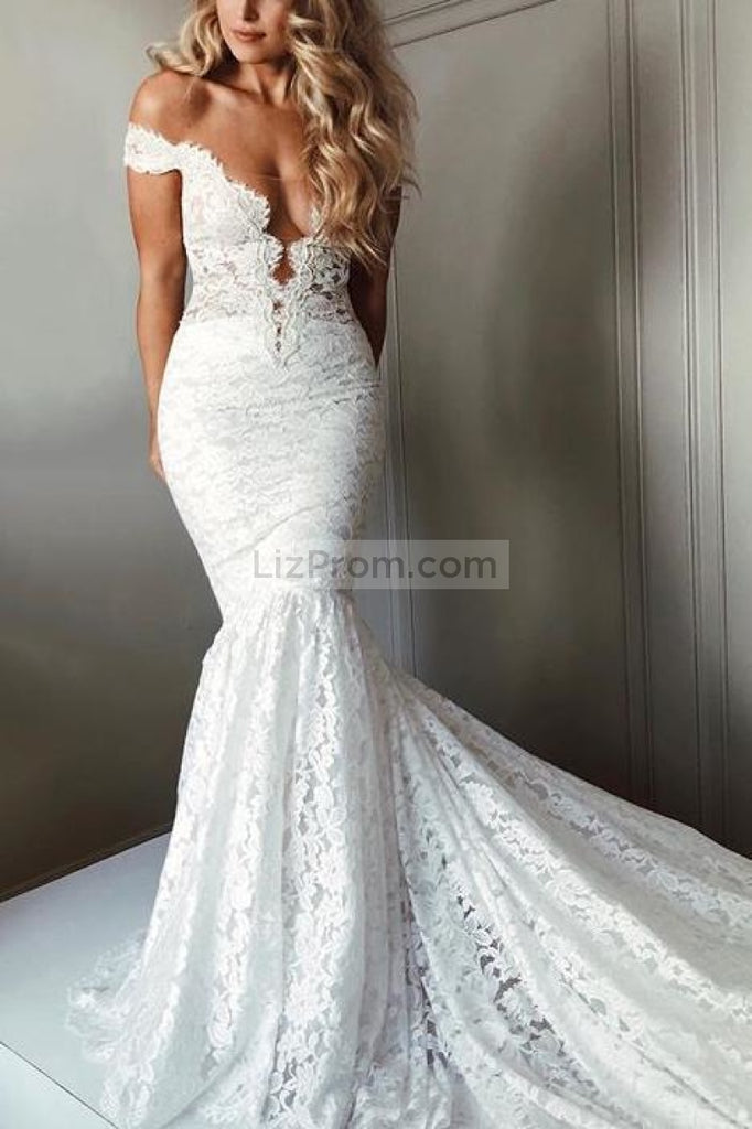 Popular Sexy White Lace Off Shoulder Mermaid Long Wedding Dress Dresses