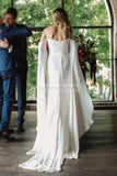 Charming White Long Sleeves Off Shoulder Open Back Wedding Dress Dresses