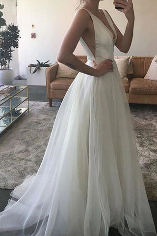 Charming Simple White Deep V-neck A-Line Wedding Dress