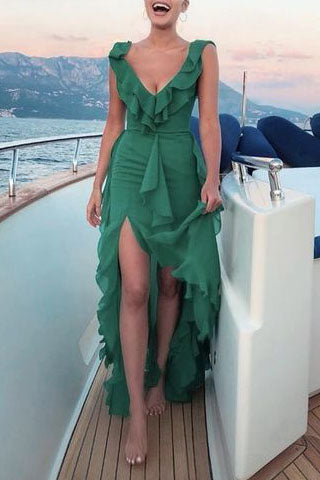 Chic Green Deep V-neck Ruffled Slit Sleeveless Beach Long Prom Dress