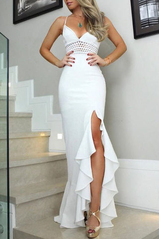 White Cut Out Side Slit V-neck Spaghetti Straps Long Prom Dress