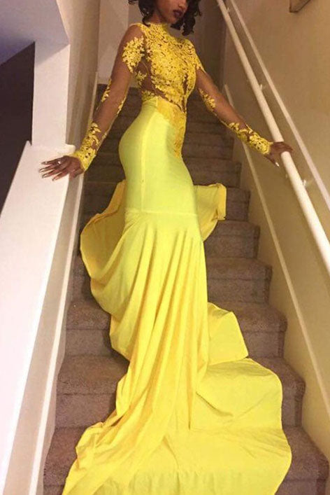 Yellow Mermaid High Neck Long Sleeves Applique Long Evening Dress