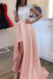 Chic A-line Slit Lace Scoop Short Sleeves Long Prom Dress
