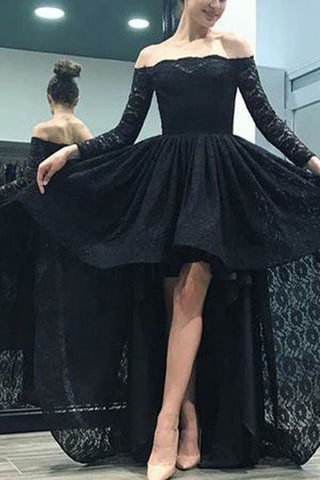 Black Off Shoulder Long Sleeves High Low Lace Evening Gown