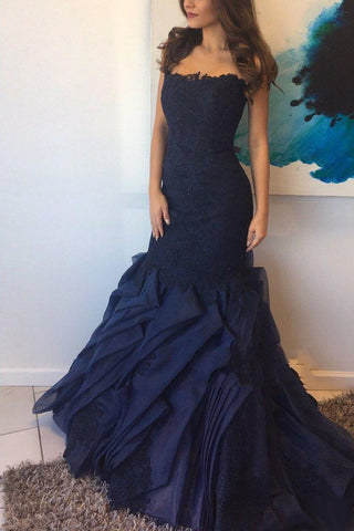 Elegant Dark Navy Lace Mermaid Ruffled Strapless Prom Gown