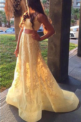 Yellow A-Line Square Sleeveless Applique Two-Piece Prom Dress