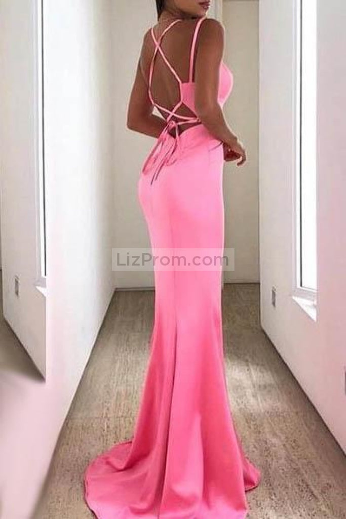 Candy Pink Lace-Up V-Neck Slit Mermaid Evening Prom Dress Dresses
