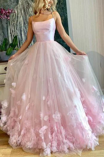 Pink Applique Spaghetti Strap Prom Gown Princess Dress