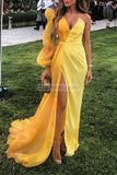 Chic Puff Sleeve A-Line Slit V-Neck Evening Prom Dress Dresses
