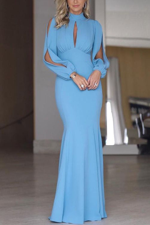 Elegant High Neck Cut Out Long Sleeves Mermaid Prom Evening Dress
