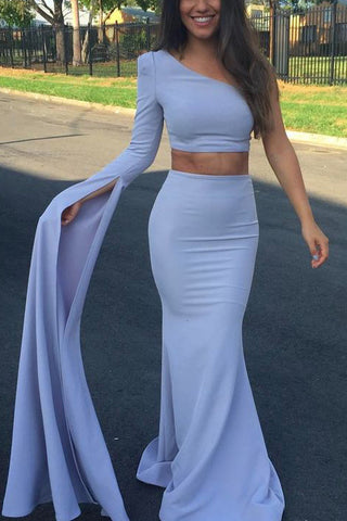 Elegant Two Pieces One Shoulder Long Sleeve Mermaid Prom Dress