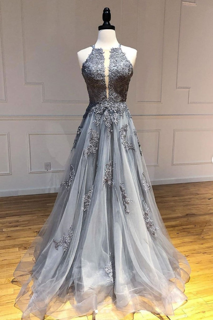 Elegant Gray A-Line Open Back Applique Prom Dress Evening Gown Dresses