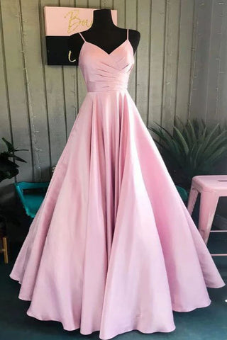Blushing Pink Spaghetti Straps Ruffled V-neck A-line Long Prom Gown