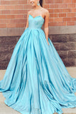 Light Sky Blue Strapless Sweetheart Ruffled Wedding Prom Ball Gown