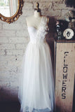 Elegant White One Shoulder Applique A-line Princess  Wedding Dress
