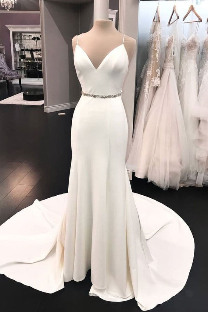 Simple White Spaghetti Straps V-neck Rhinestone Long Prom Gown