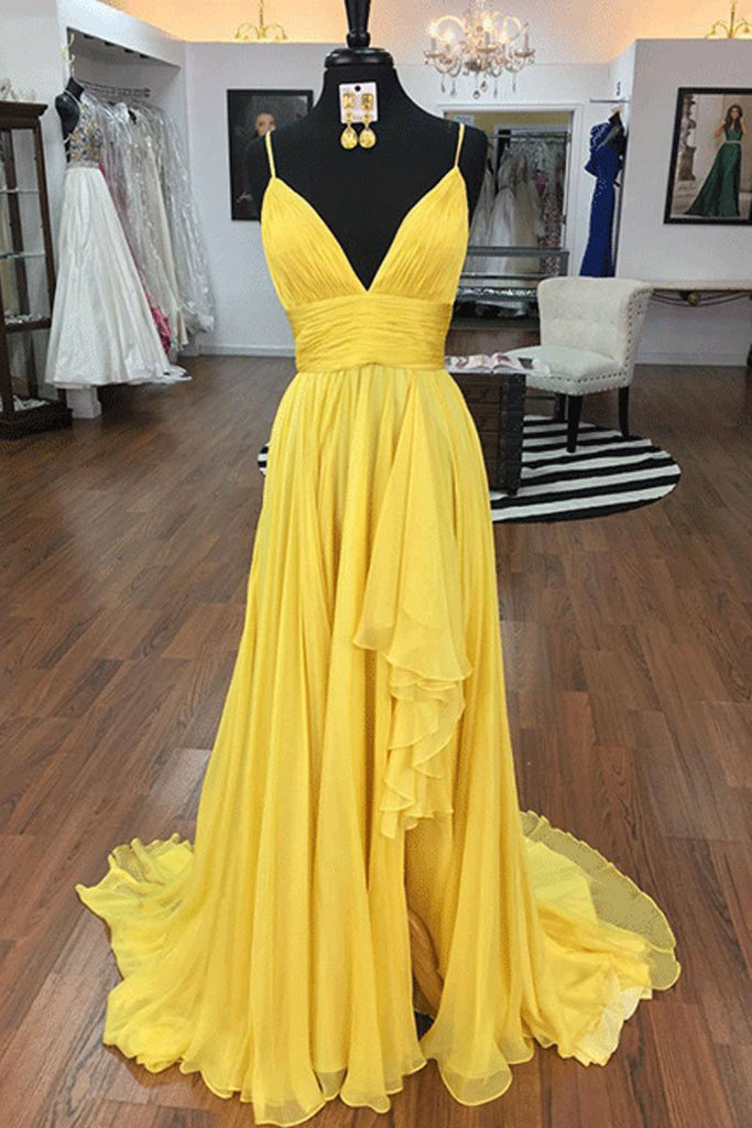 Yellow Open Back Spaghetti Straps A-line Ruffled Prom Dress