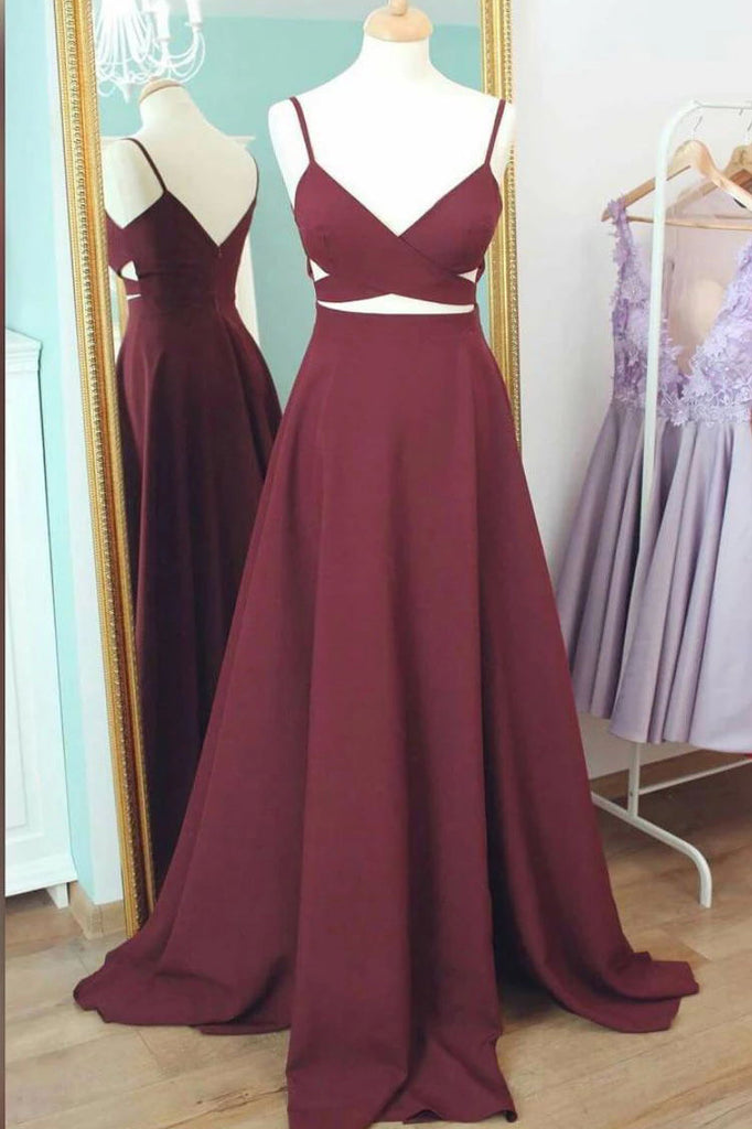 Burgundy Cut Out Spaghetti Straps A-line Sleeveless Prom Dress